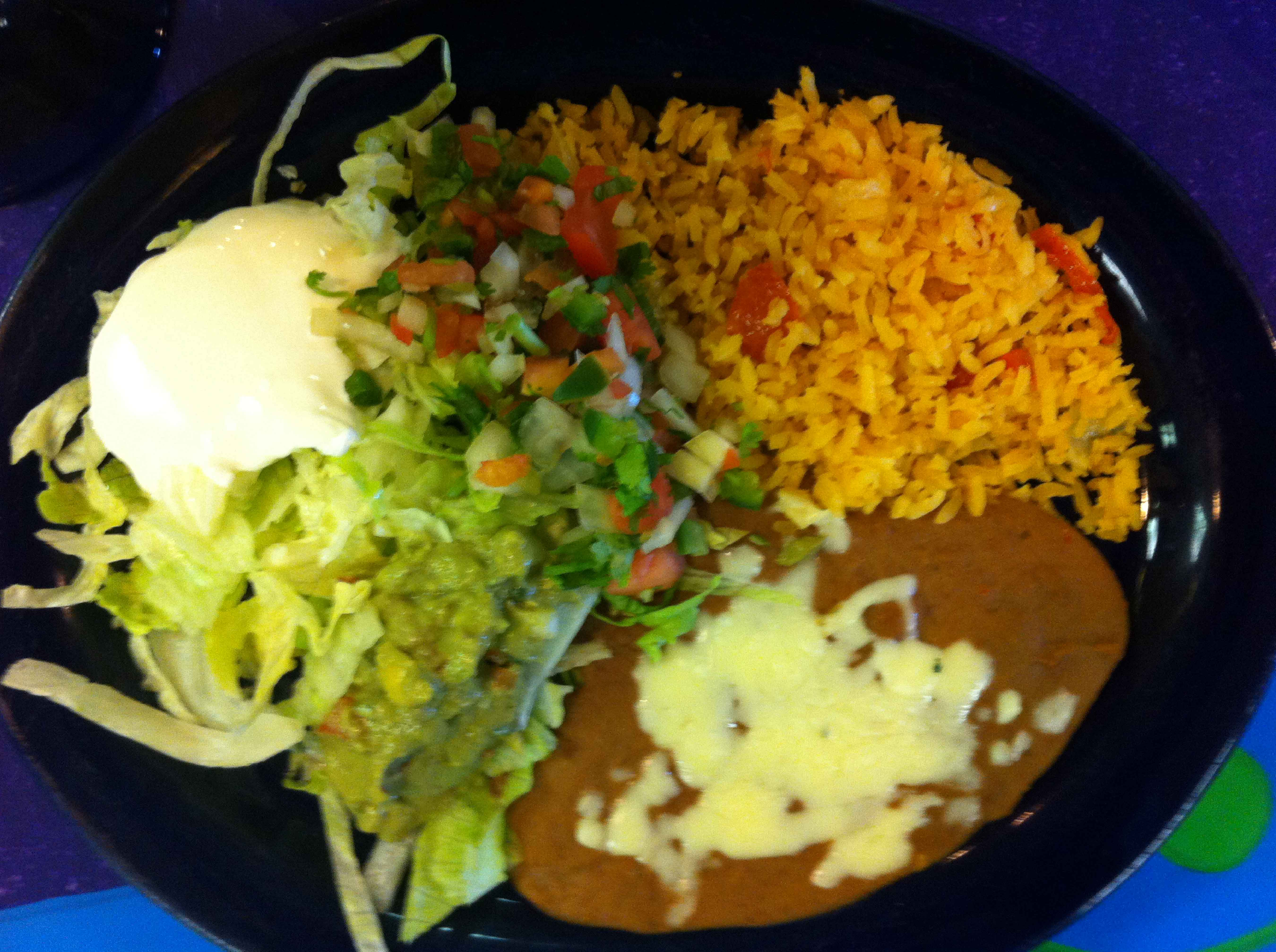 Rice, Beans, Lettuce and Guacamole